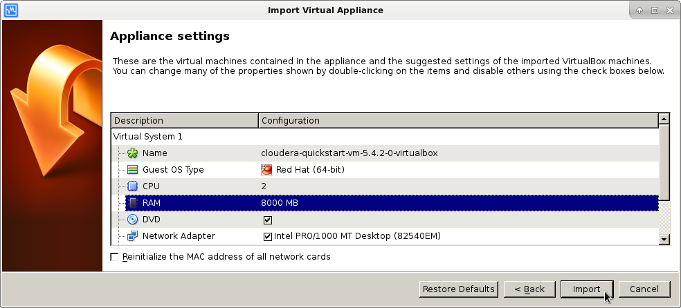 Import appliance select file